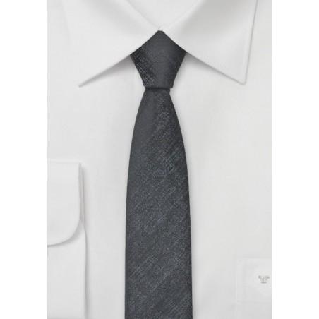 Ultra Slim Tie in Textured Silver