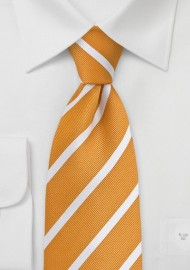 Orange Yellow and White Striped Tie
