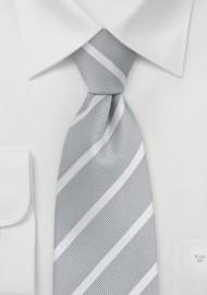 Soft Silver and White Striped Neck Tie