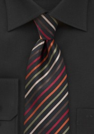 Sleek Striped Tie in Black