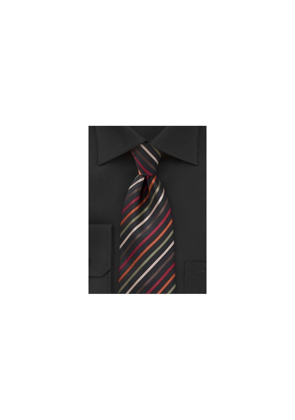 Sleek Striped Tie in Black