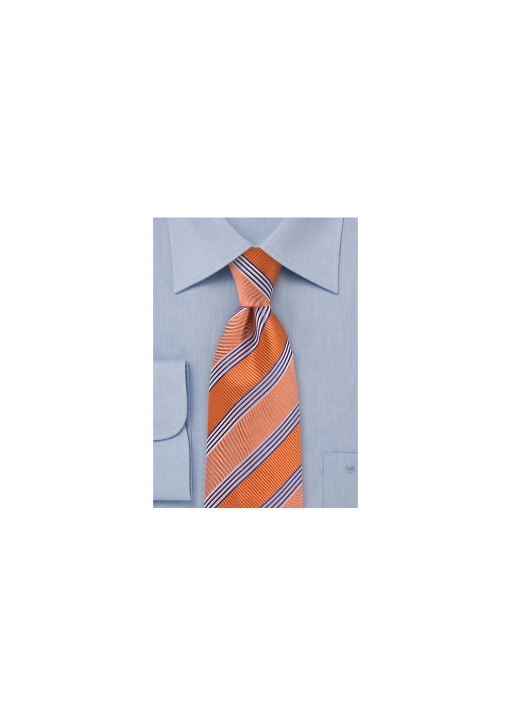Vivid Tangerine Striped Tie