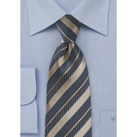 Regal Striped Tie in Vintage Gold and Navy