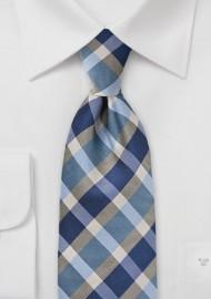 Preppy Plaid Tie in Blues
