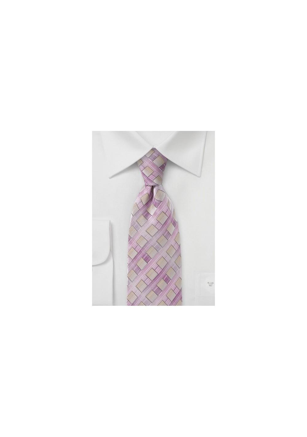 Diamond Patterned Tie in Lilacs