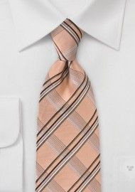 Modern Plaid Tie in Vintage Peach