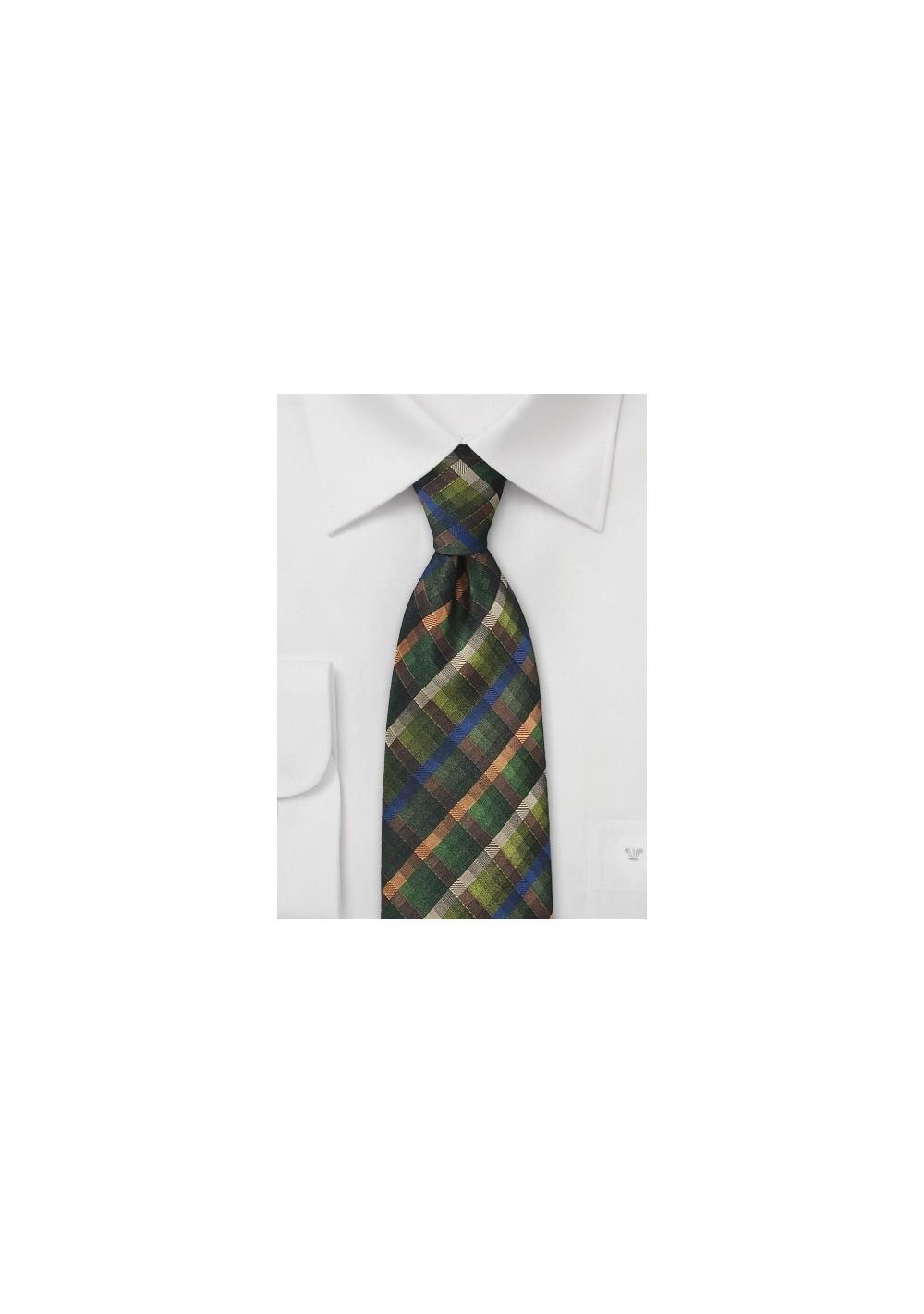 Plaid Textured Tie in Dark Winter Greens