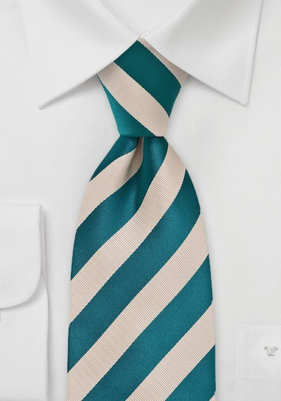Warm Riviera Blue and Champagne Tie in XL