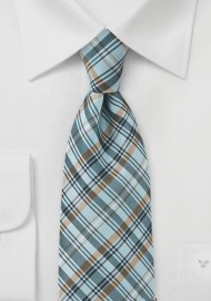 Plaid Tie in Muted Aqua