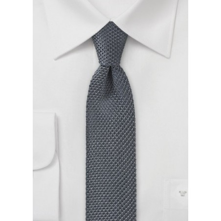 Charcoal Gray Knitted Skinny Tie