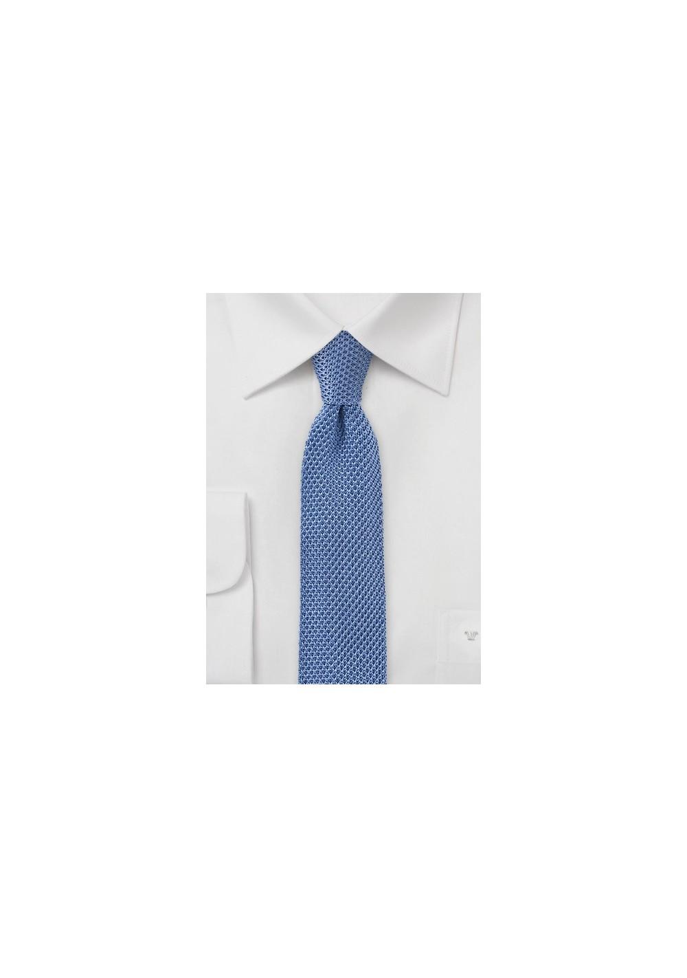 Sky Blue Knitted Skinny Tie