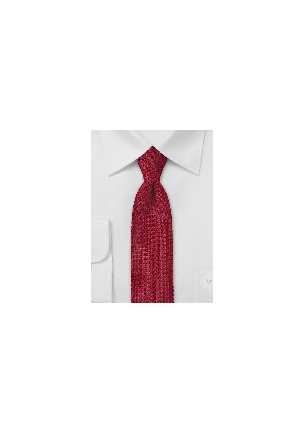 Cherry Red Skinny Knit Tie