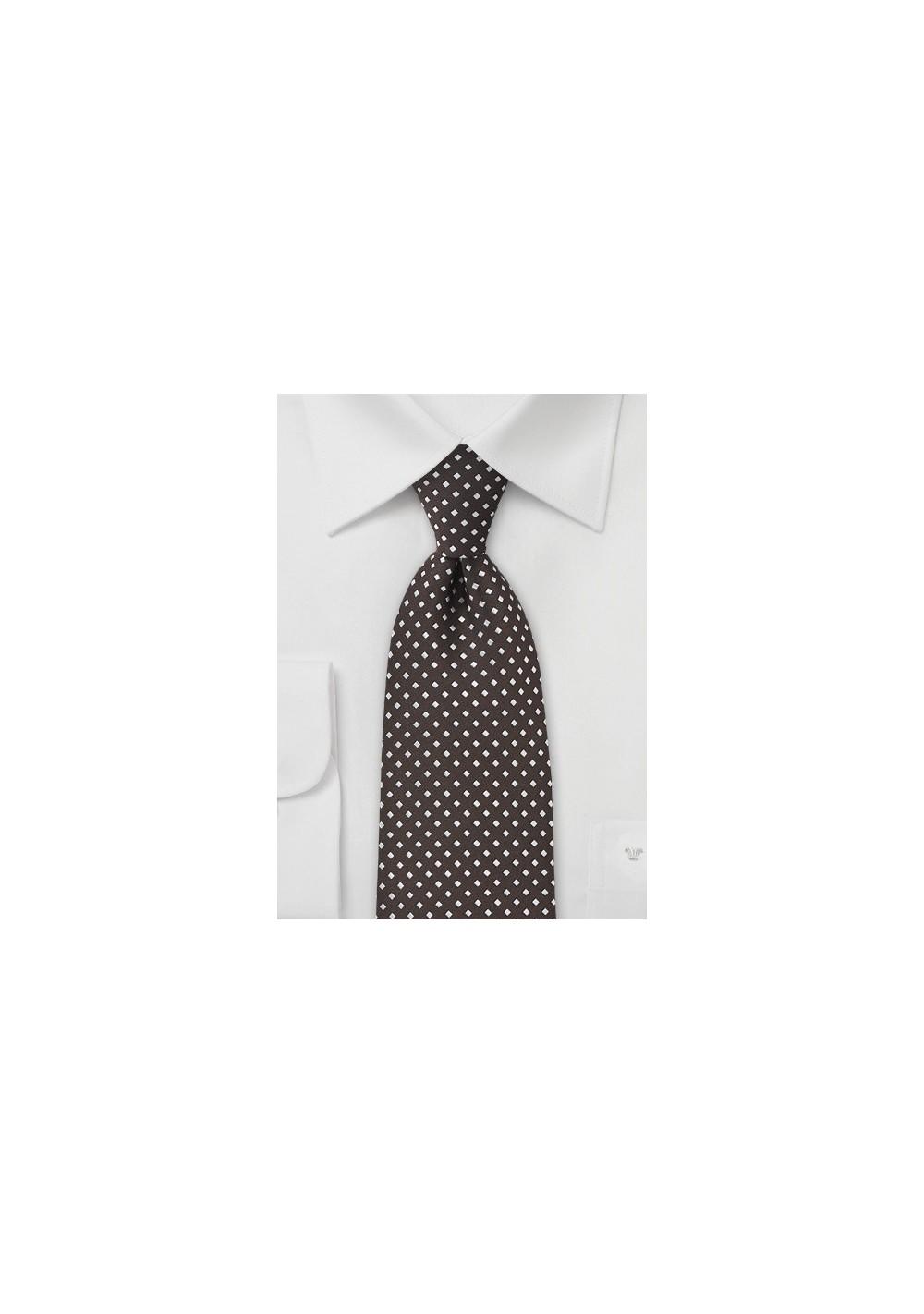 Espresso Brown and Silver Necktie