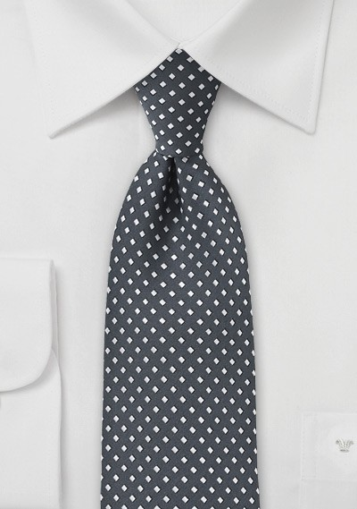 Gray and Silver Diamond Pattern Tie