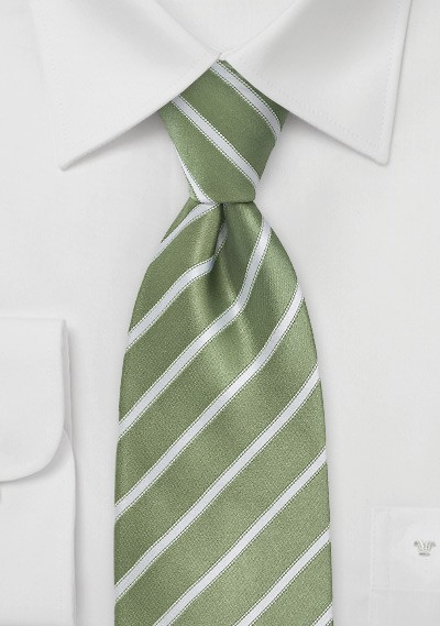 Moss Green and White Striped Tie in Extra Long Length