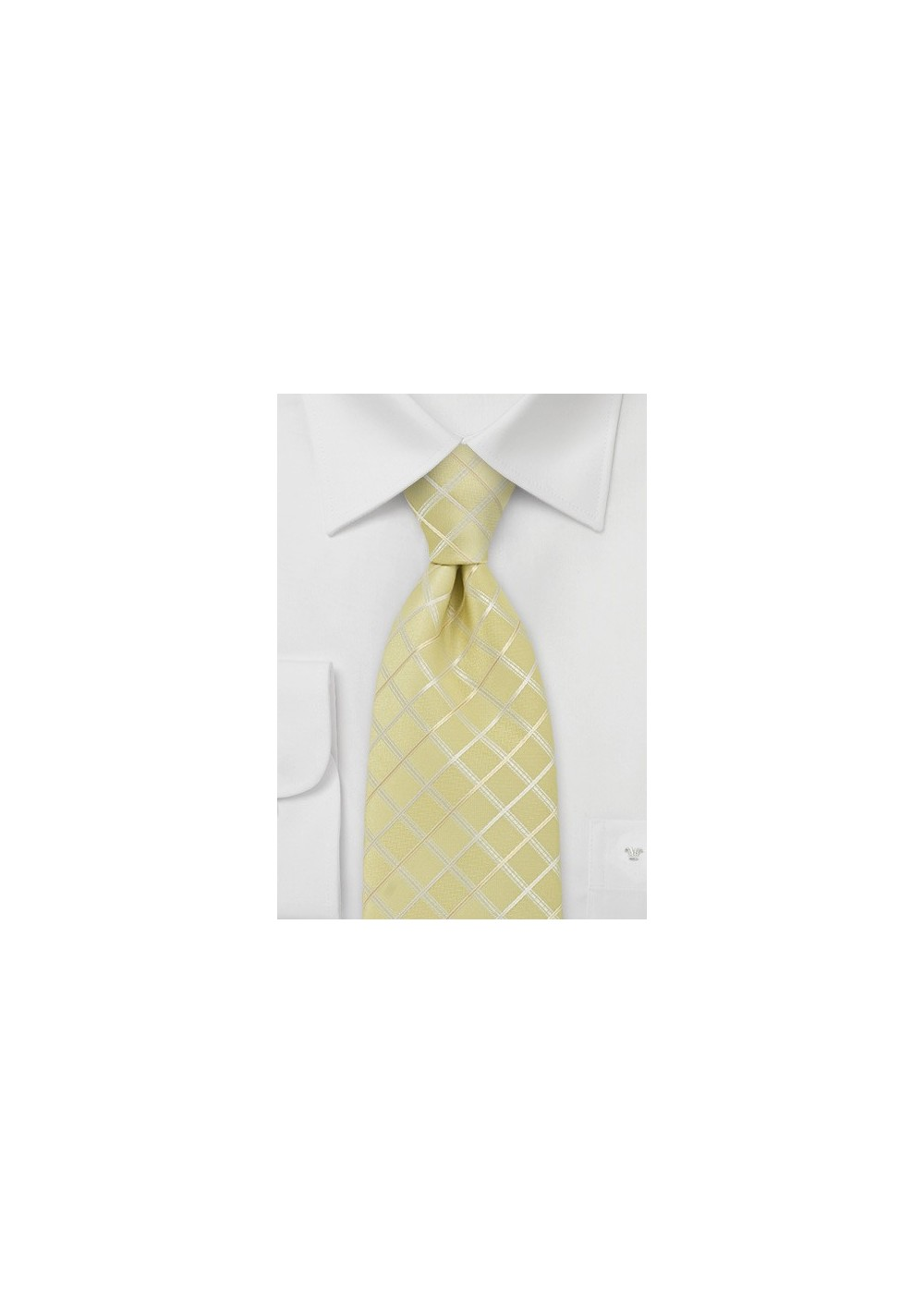 Light Yellow Check Pattern Tie for Kids
