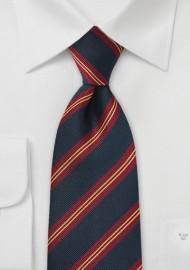 XL British Regimental Striped Necktie in Navy Blue, Gold, and Red