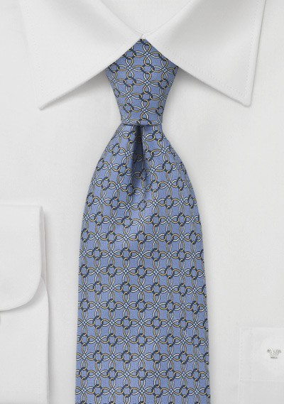 Graphic Ring Motif Tie in Periwinkle
