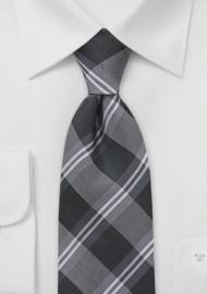 Plaid Kids Sized Tie in Tonal Greys
