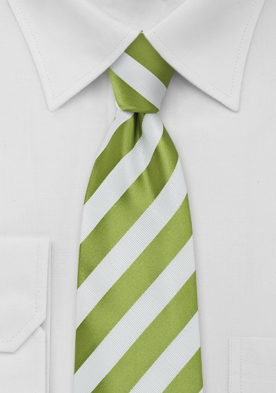 Kids Bright Green and White Striped Tie