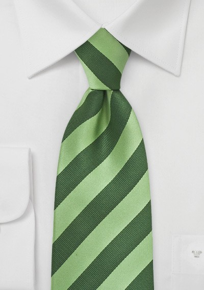 Hunter and Lime Striped Kids Tie