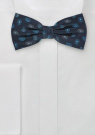 Teardrop Patterned Silk Bow Tie