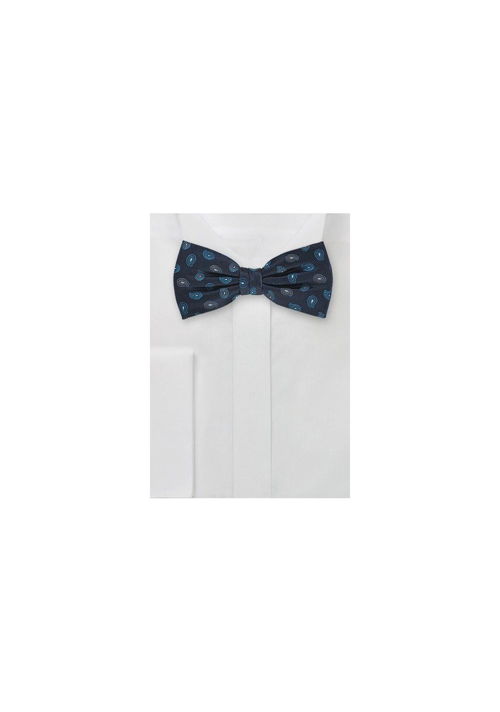 Teardrop Patterned Silk Bow Tie