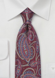 Burgundy Paisley Patterned Tie