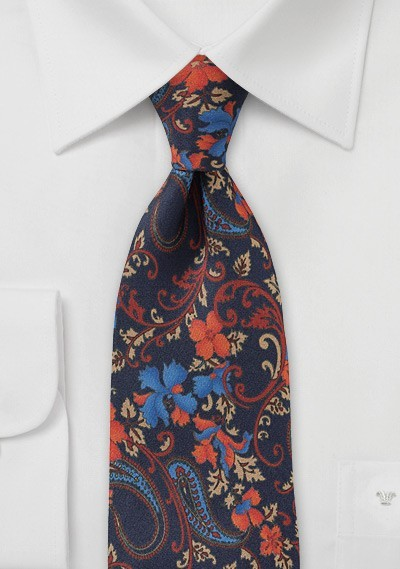 Floral Tie in Navy Blue and Oranges