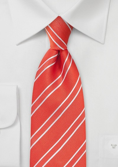 Bright Red Striped Tie With Texture