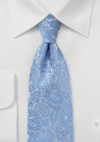 Ornate Paisley Tie in Light Blue Silver
