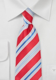Vivid Poppy Colred Striped Tie