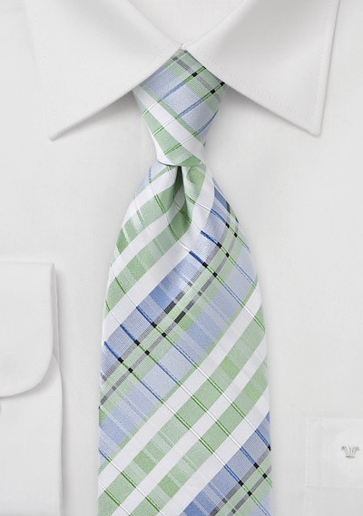 Summer Plaid Tie in Pistachio Green and Blue
