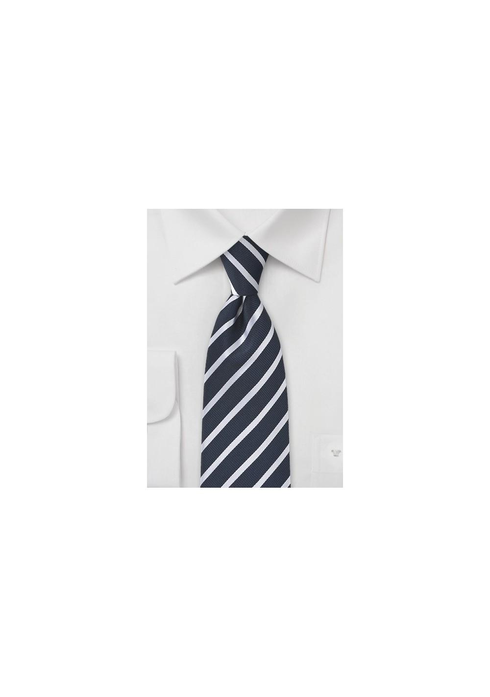 Very Deep Navy Silk Striped Tie