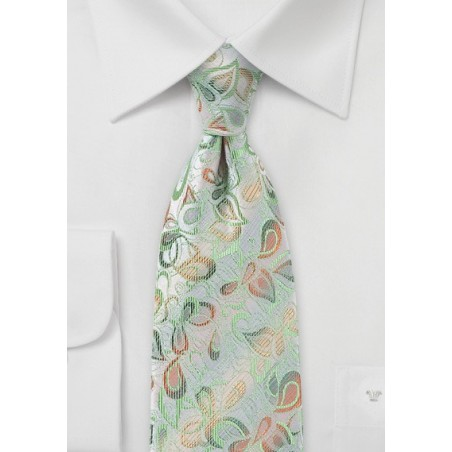 Modern Floral Tie in Silvers, Greens and Yellows