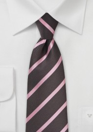 Espresso and Pink Striped Tie