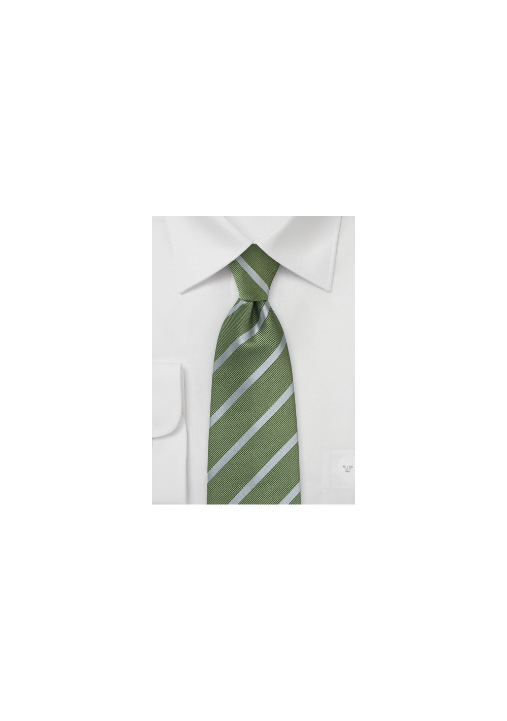 Fern and Silver Striped Tie