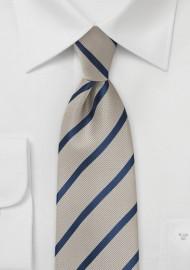 Platinum and Navy Stripe Tie