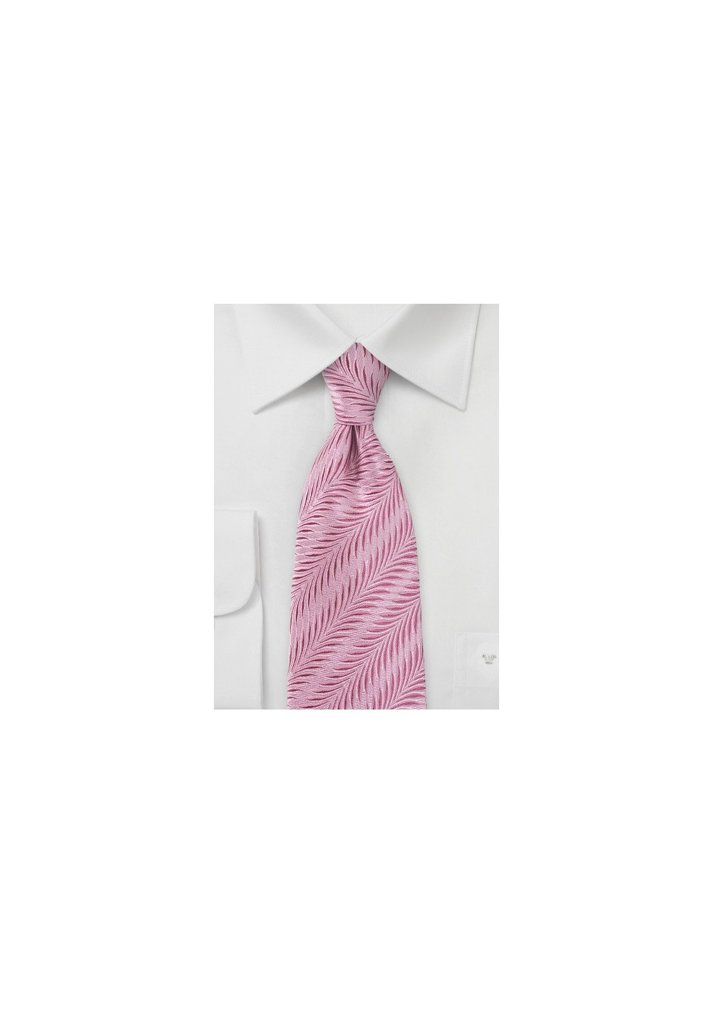 Pure Silk Carnation Pink Tie with Art Deco Design