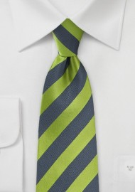 Striped Tie in Fern Green and Charcoal