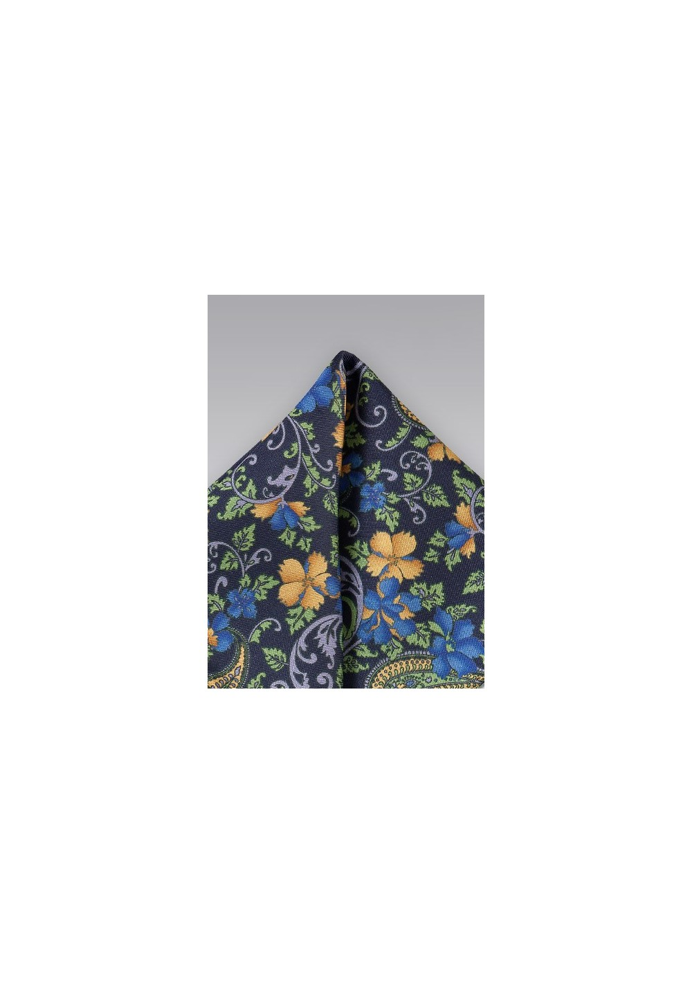 Navy, Green, Yellow Floral Pocket Square