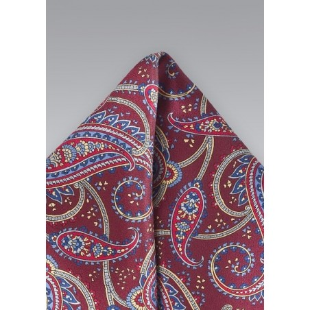 Burgundy and Blue Paisley Pocket Square