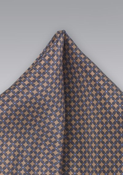 Brown and Light Blue Pocket Square