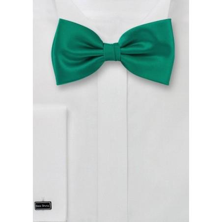 Solid Colored Silk Bowtie in Jade