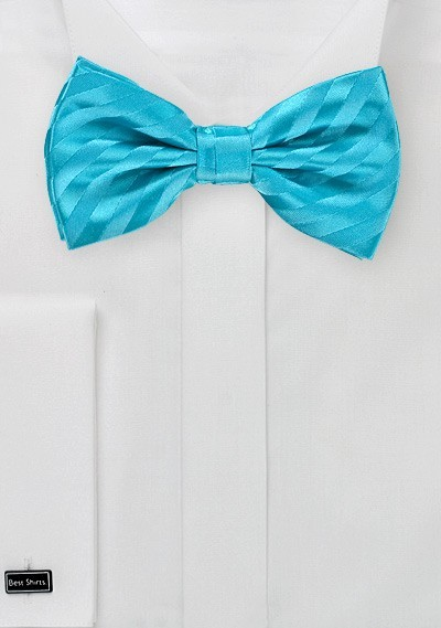 Aqua Blue Striped Bow Tie