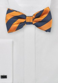 Orange and Navy Striped Bow Tie