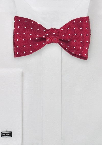 Cherry Red Polka Dot Bow Tie