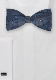 Blue and Bronze Paisley Bow Tie