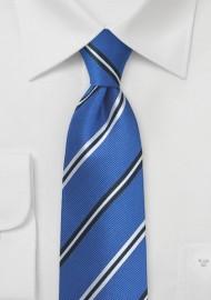 Horizon Blue Necktie with Repp Textured Stripes