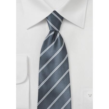 Double Pinstriped Necktie in Gray